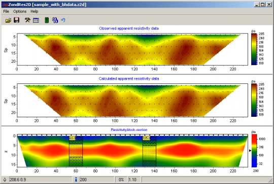 Borehole's data in zondres2d software