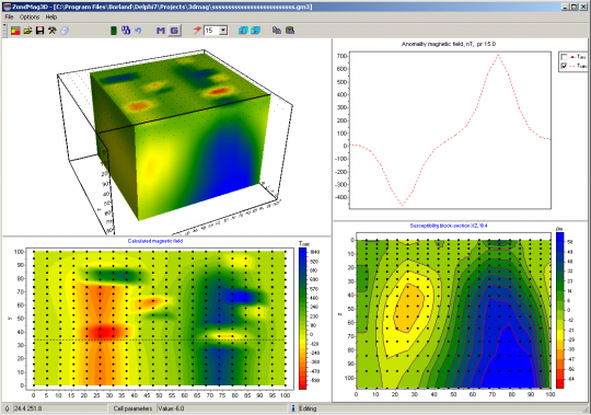 3D inversion of areal magnetic data