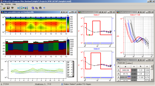 ZondVMD1d in interpretation mode. Three frequencies data.