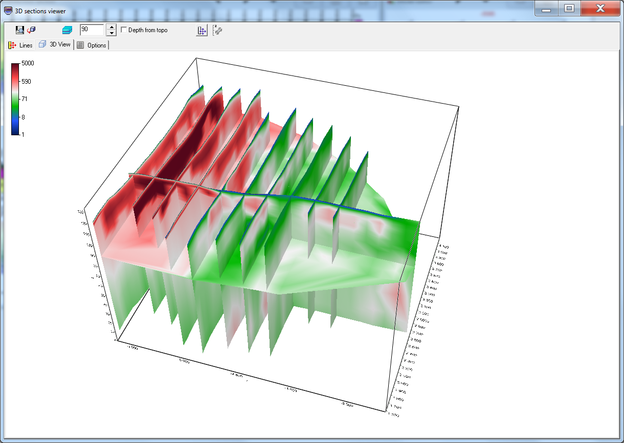 3D visualization of resistivity sections in ZondTEM1D